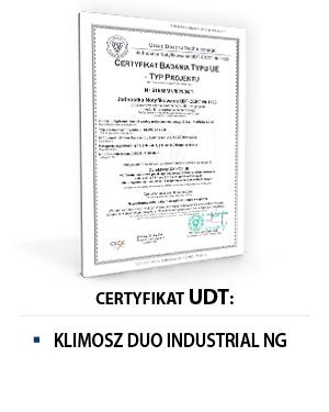 Certyfikat UDT KLIMOSZ DUO INDUSTRIAL NG