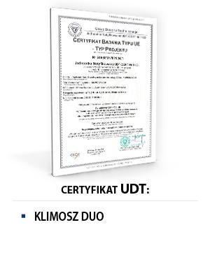 Certyfikat UDT KLIMOSZ DUO