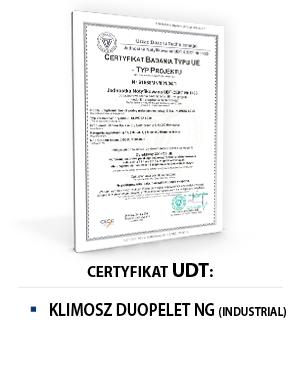 Certyfikat UDT KLIMOSZ DUOPELET NG INDUSTRIAL