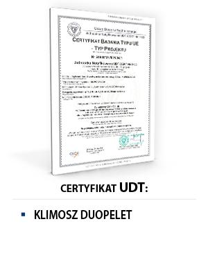 Certyfikat UDT KLIMOSZ DUOPELET