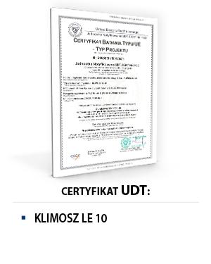 Certyfikat UDT KLIMOSZ LE 10