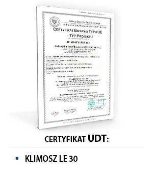 Certyfikat UDT KLIMOSZ LE 30