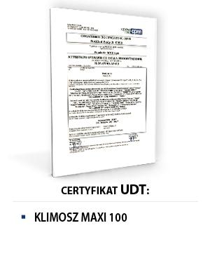Certyfikat UDT KLIMOSZ MAXI 100