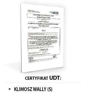 Certyfikat UDT KLIMOSZ WALLY S